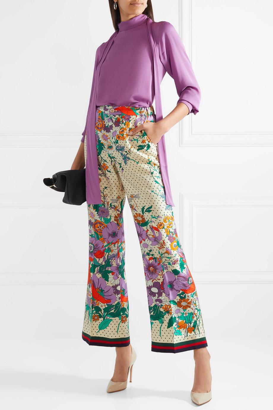 Gucci Printed silk-charmeuse wide-leg pants