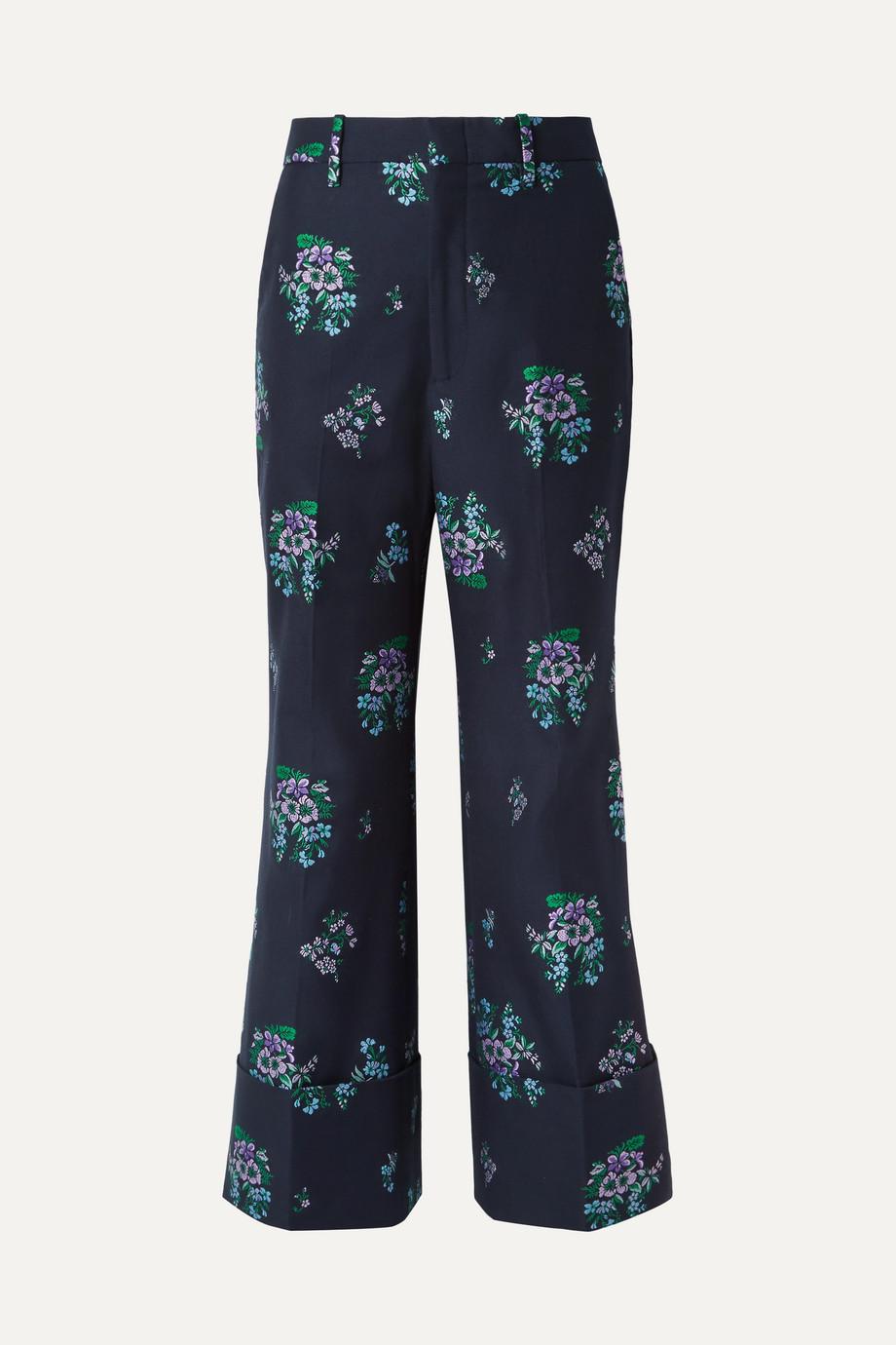 Gucci Cotton and wool-blend jacquard wide-leg pants