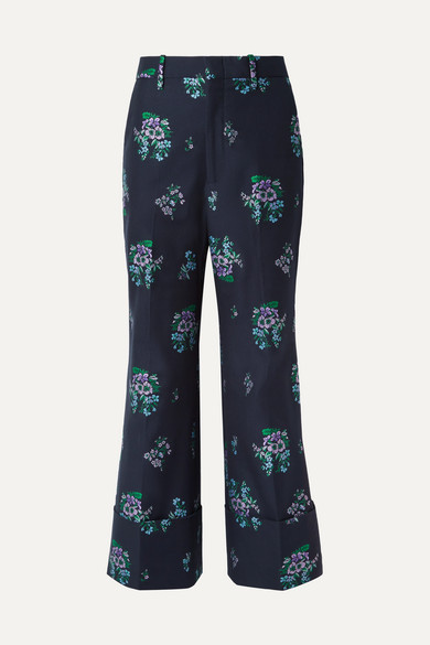Cotton And Wool-Blend Jacquard Wide-Leg Pants, Dark Blue