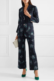 Cotton and wool-blend jacquard wide-leg pants