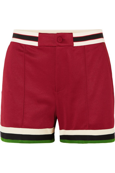Grosgrain Trimmed Jersey Shorts by Gucci