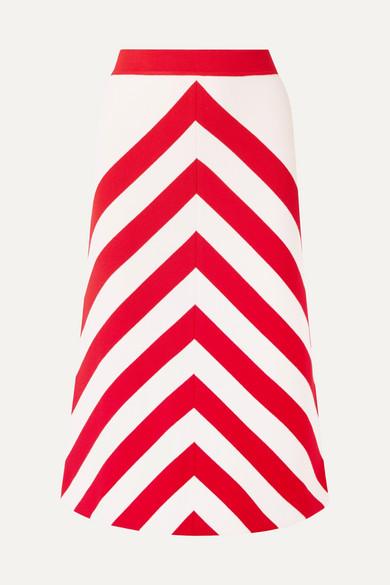 Striped Wool Blend Midi Skirt by Gucci