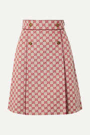 Gucci Leather-trimmed cotton-blend canvas mini skirt