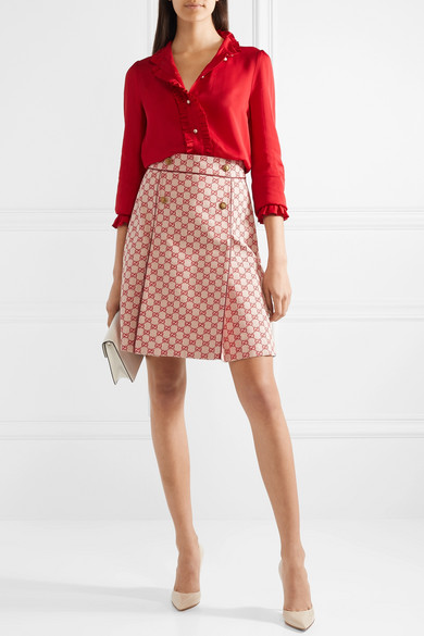 Gucci Skirts Leather-trimmed cotton-blend canvas mini skirt