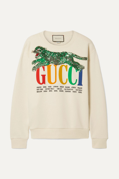 OVERSIZED EMBELLISHED PRINTED COTTON-TERRY SWEATSHIRT