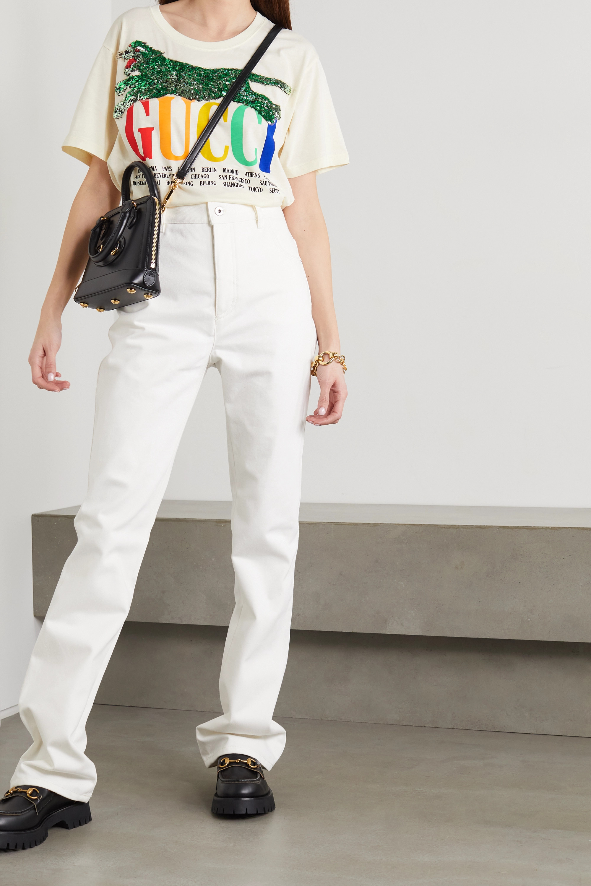 Gucci Oversized embellished printed cotton-jersey T-shirt