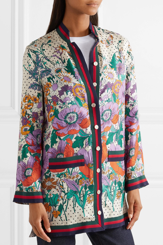 Gucci Grosgrain-trimmed printed silk-twill shirt