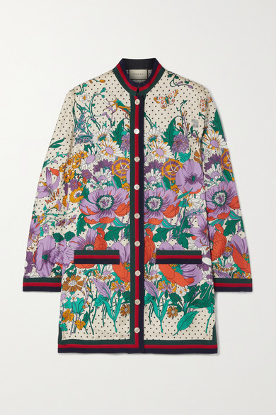 Gucci - Grosgrain-trimmed Printed Silk-twill Shirt - Ivory