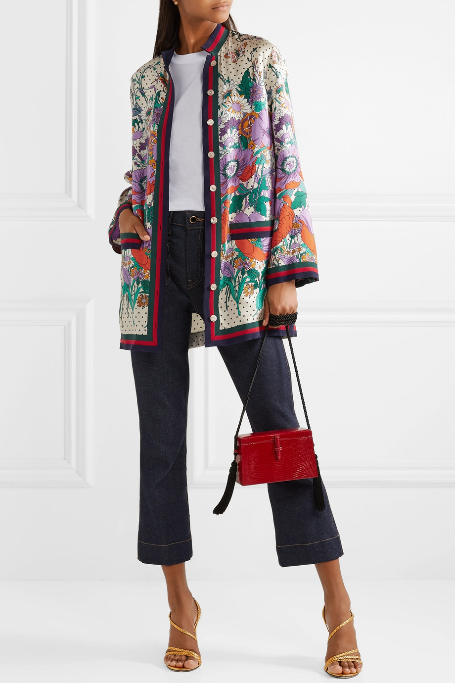 Gucci Grosgrain-trimmed printed silk-twill shirt