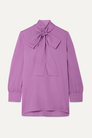 Pussy-bow silk-crepe blouse