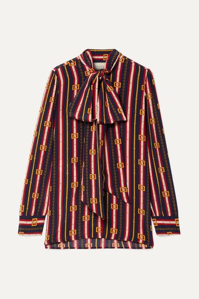 30357c89fad Gucci. Pussy-bow printed silk crepe de chine blouse
