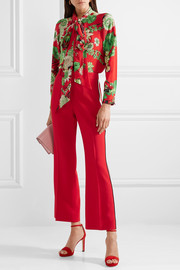 Floral-print pussy bow silk-satin blouse