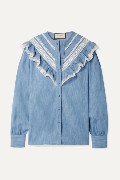 Lace-Trimmed Ruffle Cotton-Chambray Blouse in Light Blue