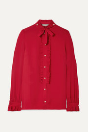 Gucci Embellished ruffled silk crepe de chine blouse
