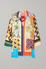 Gucci Oversized printed silk-twill blouse