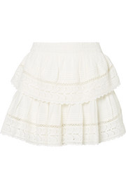 Crochet-trimmed embroidered cotton-voile mini skirt