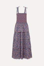Caressa smocked tiered floral-print cotton maxi dress