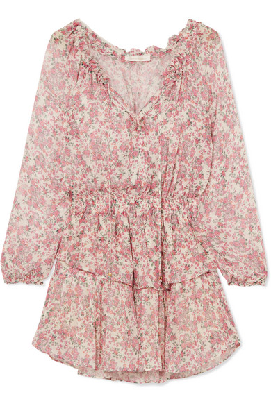 LoveShackFancy - Tiered Floral-print Silk-georgette Mini Dress - Pink