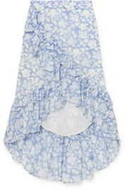LoveShackFancy Liza ruffled floral-print cotton and silk-blend voile skirt