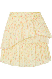 Genevieve tulle-trimmed floral-print cotton mini skirt
