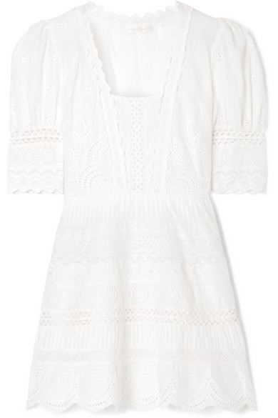 Kristen Broderie Anglaise Cotton Mini Dress in Ivory