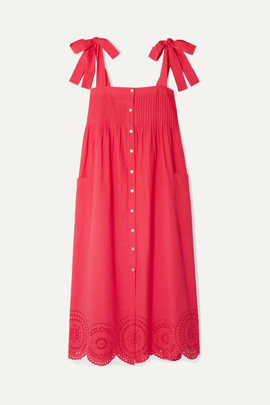 HATCH Sylvie Broderie Anglaise Cotton-Voile Midi Dress