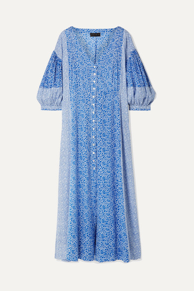 Nessa Floral-print Cotton-voile Midi Dress - Blue Hatch eiekCA