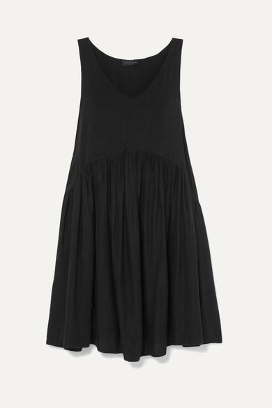 HATCH Fiona Gathered Cotton-Blend Voile Mini Dress in Black