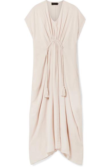 HATCH Neema Gathered Cotton-Blend Voile Dress in Beige