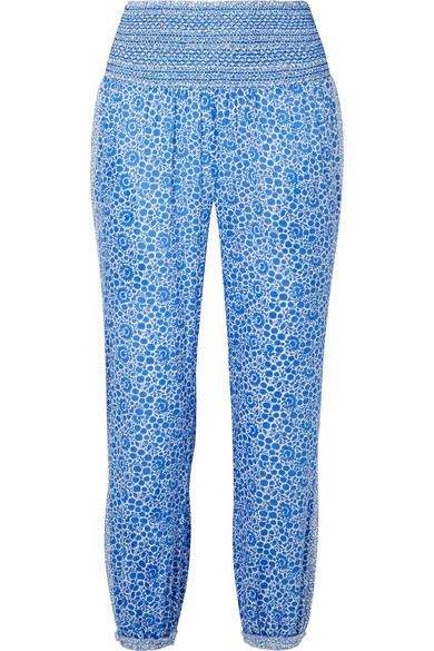 HATCH Ziggy smocked floral-print cotton-voile tapered pants
