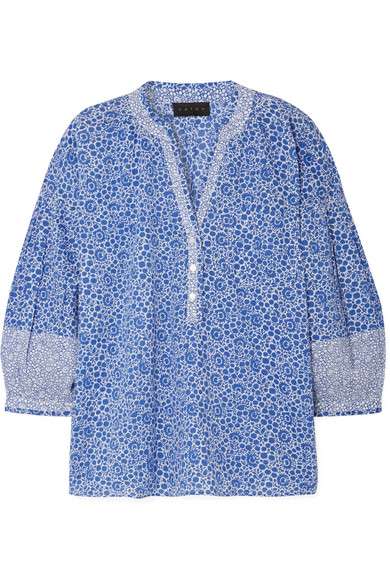 HATCH Olivia Printed Cotton-Voile Blouse in Blue