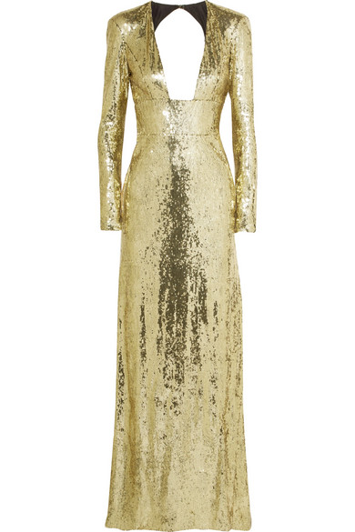 DUNDAS Open-Back Sequined Tulle Gown in Gold