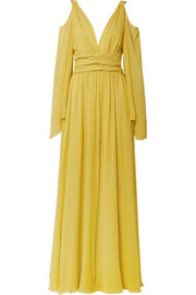 Cold-shoulder gathered silk-georgette gown