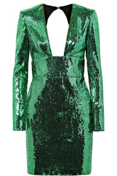DUNDAS Long-Sleeve Deep-V Open-Back Sequin Mini Cocktail Dress in Green