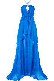 Cutout tiered silk-chiffon gown