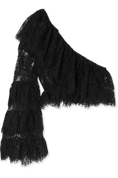 DUNDAS Cropped One-Shoulder Lace Top in Black