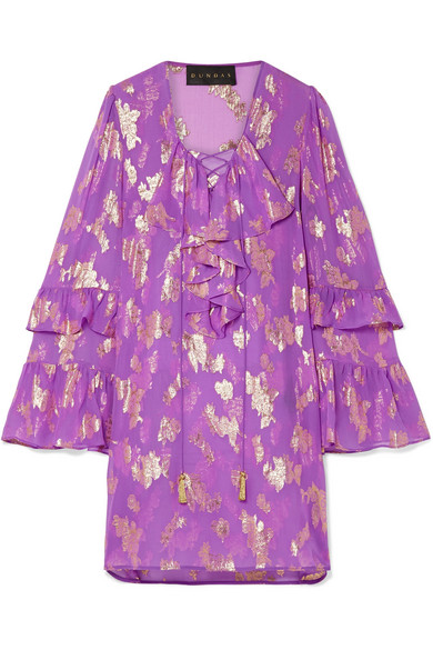 DUNDAS Lace-Up Metallic Fil Coupé Silk-Blend Chiffon Mini Dress in Purple