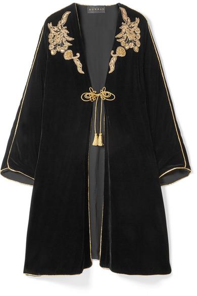 DUNDAS Embellished Embroidered Velvet Kaftan in Black