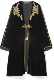 Embellished embroidered velvet kaftan