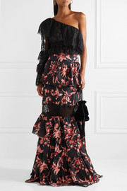 Lace-paneled tiered printed cotton maxi skirt