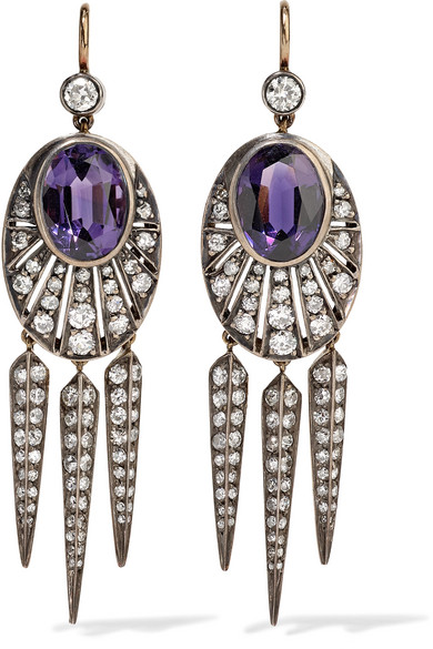 FRED LEIGHTON COLLECTION 18-KARAT GOLD, SILVER, DIAMOND AND AMETHYST EARRINGS