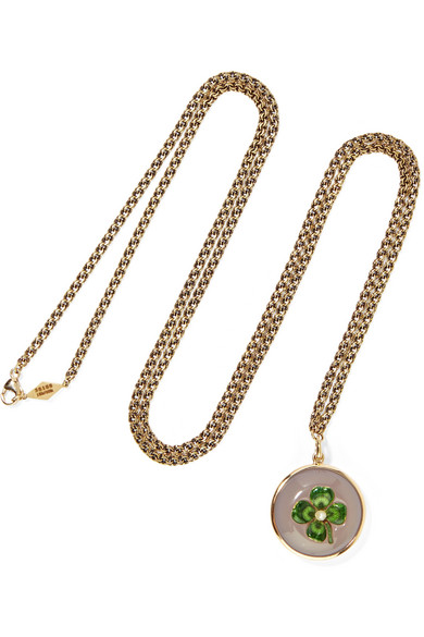 FRED LEIGHTON COLLECTION 18-KARAT GOLD, DIAMOND, ENAMEL AND CHALCEDONY NECKLACE