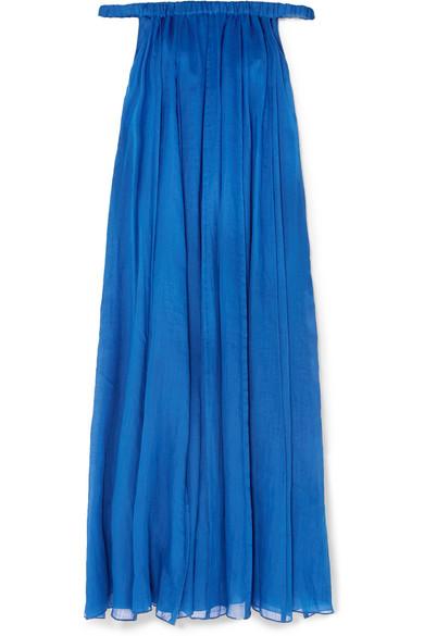 THREE GRACES LONDON Evangeline Off-The-Shoulder Ramie Maxi Dress in Cobalt Blue