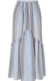 Leila striped cotton-gauze midi skirt