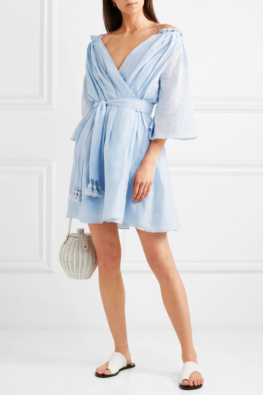 Three Graces London Tessa off-the-shoulder ramie wrap mini dress
