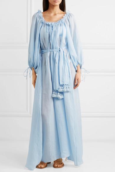 Almost A Honeymoon Tasseled Belted Ramie Maxi Dress - Light blue Three Graces London eVRkLts