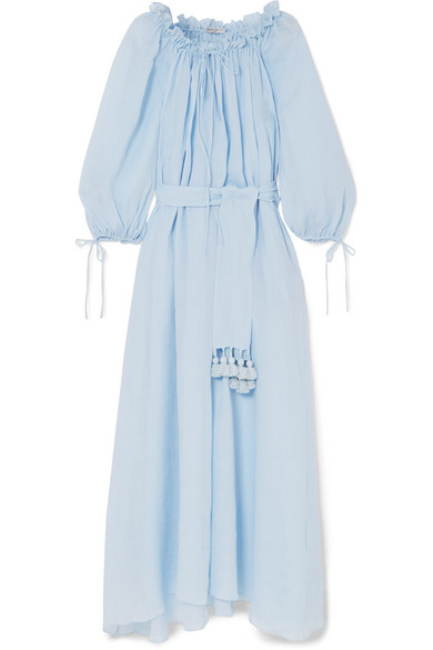 Almost A Honeymoon Tasseled Belted Ramie Maxi Dress by Three Graces London