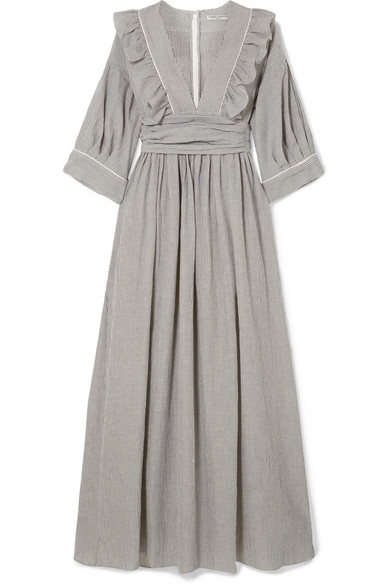 THREE GRACES LONDON Adeline Striped Cotton-Blend Maxi Dress in Charcoal