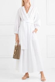 Three Graces London Roksana broderie anglaise cotton wrap dress