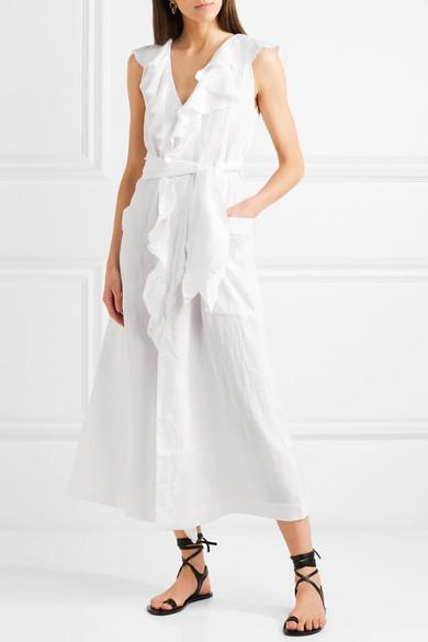 Shop For Cheap Online Mable Ruffled Linen Midi Dress - White Three Graces London View Cheap Price AodlaBGp46